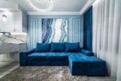 Ариети - угловой диван во флоке. Ткань Genezis Арбен