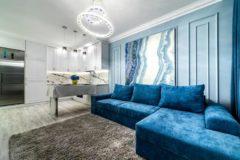 Каро - угловой диван во флоке. Ткань Genezis Арбен
