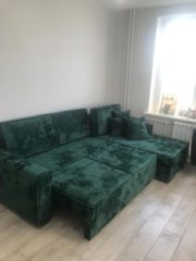 Разложенный диван Ричмонд в интерьере. Мебельная ткань Crush Mebelliery